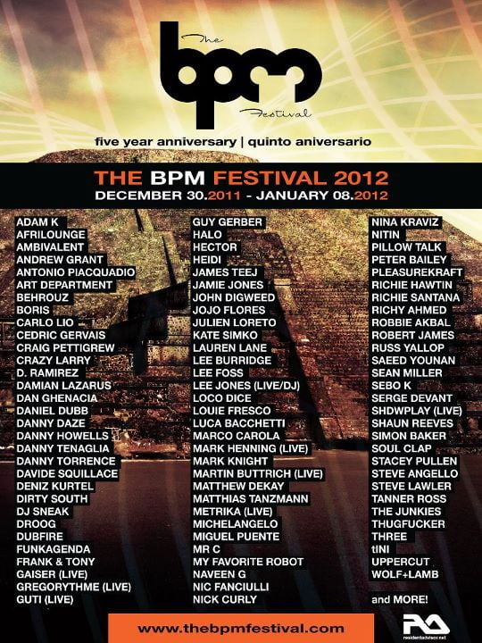 300385 10150936679000417 381480385416 22890041 1408754551 n The BPM Festival 2012 Phase Two Artist Line up and Day & Night Event Schedule (Official Info)