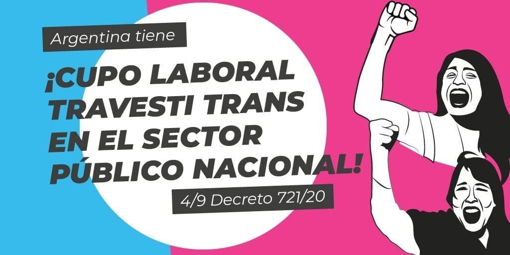 Argentina avanza decretando cupo laboral en el sector publico para personas transgénero