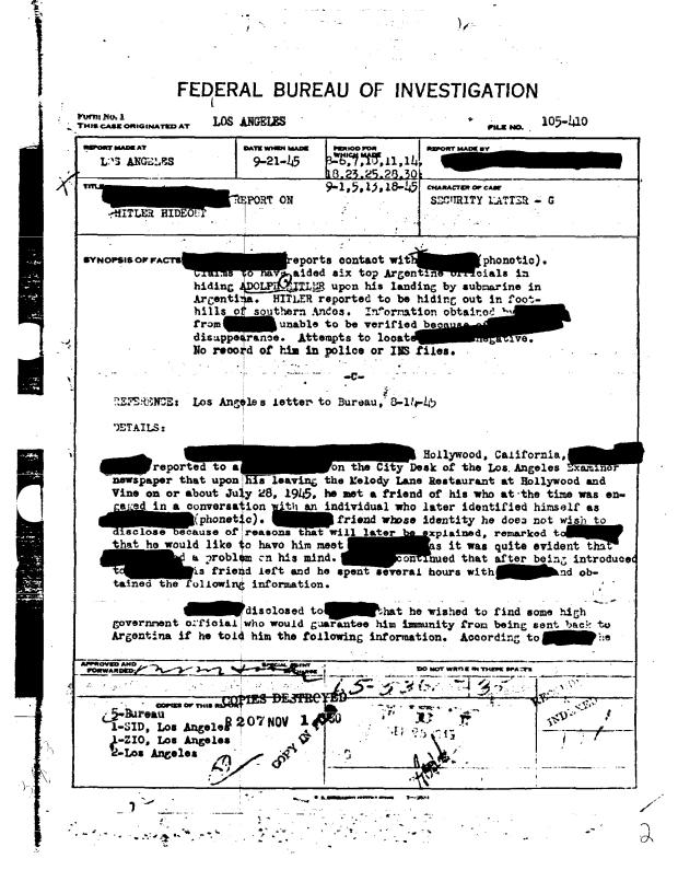 70 Años Después: FBI Desclasifica el Escape de Hitler A La Argentina (Lo mismo harán con todo lo demás)
