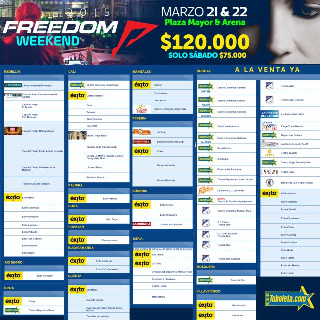 FREEDOM: Dónde puedo comprar mis boletos ? Último en preventa a 75.000
