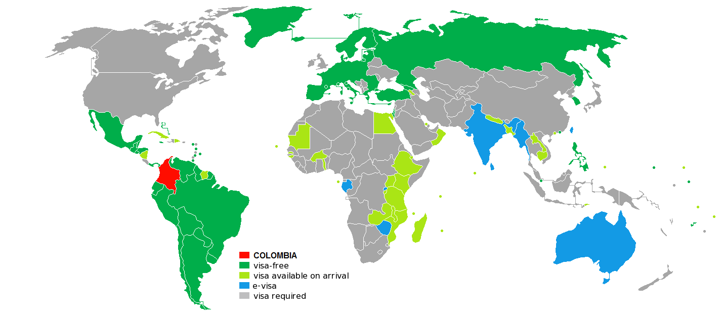 Visa free map for Colombian citizens
