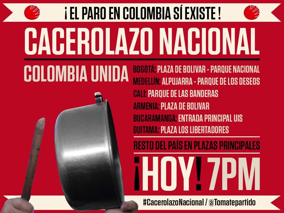 """Hoy a las 7pm """"Gran Cacerolazo Nacional"""" Colombia esta Indignada"""