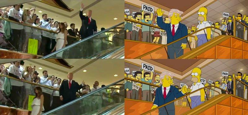cartoons trump waving and thumbs up comparison