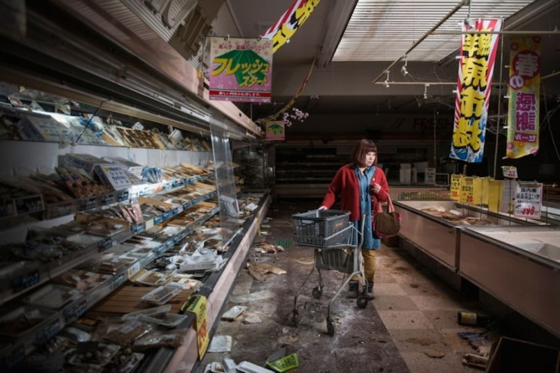 Staged image of a former worker returning following the Fukushima disaster. Photograph: Carlos Ayesta and Guillaume Bression/Courtesy of Atkins CIWEM Environmental Photographer of the Year