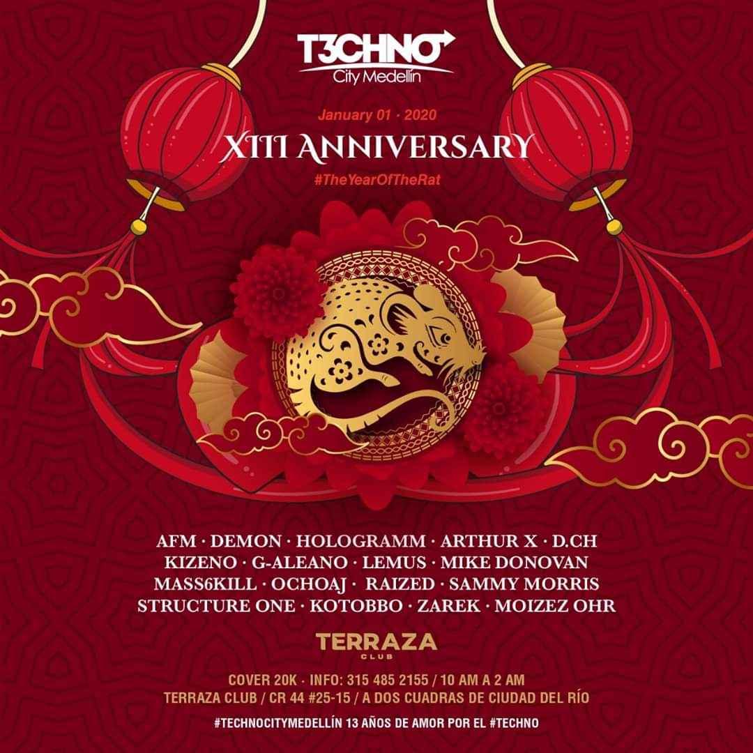 Techno City celebrará su 13º aniversario este 1ro enero en Terraza Club