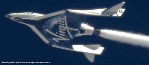 Virgin Galactic: Primer test de la nave de turismo espacial, $200k valdría un cupo de 6 puestos.