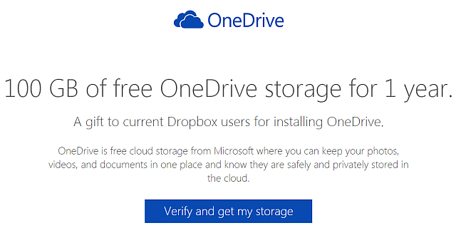 onedrive 100gb for dropbox users