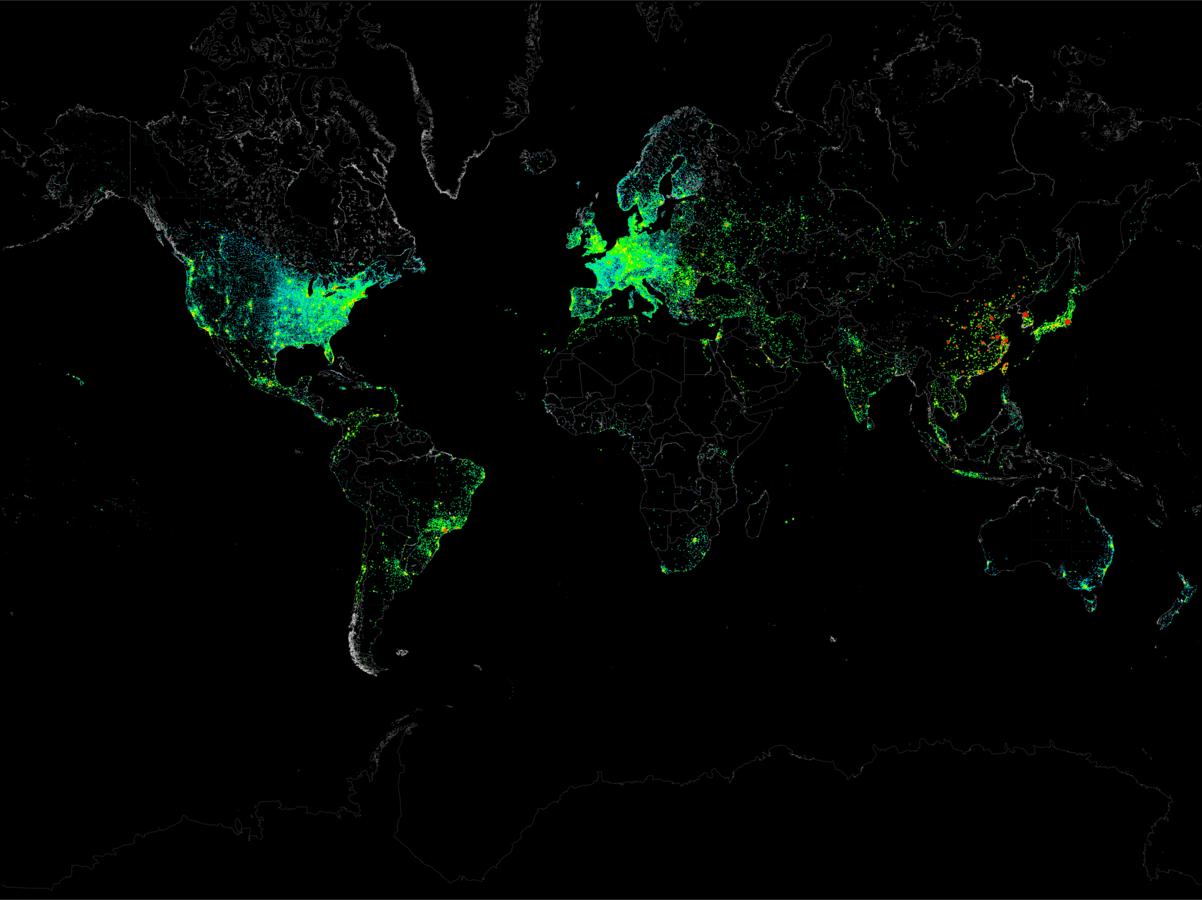 Mira cómo el mundo se conecta a Internet en un lapsus de 24 horas en éste GIF